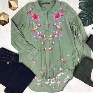 ZARA Woman Olive Green Floral Embroidered Blouse